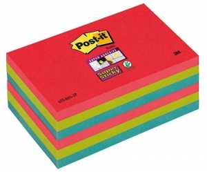 BLOCZEK SAMOP. POST-IT® SUPER STICKY (655-6SS-JP), 127X76XMM, 6X90 KART., ENERGICZNE KOLORY