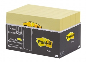 BLOCZEK SAMOP. POST-IT® (655Y-16 VP), 127X76MM, 16X100 KART., ŻÓŁTY, 2 BLOCZKI GRATIS