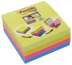 MULTI KOSTKA SAMOPRZYLEPNA POST-IT® SUPER STICKY (2014-SC-BYFG),76X76MM, 4X75 KART., MIX KOLORÓW