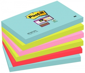BLOCZKI SAMOPRZYLEPNE POST-IT® SUPER STICKY (655-6SS-MIA), 76X127MM, 6X90 KART., PALETA MIAMI