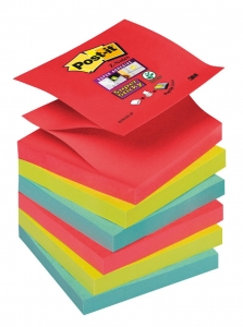 BLOCZEK SAMOP. POST-IT® SUPER STICKY Z-NOTES (R330-6SS-JP), 76X76MM, 6X90 KART., ENERGICZNE KOLORY