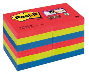 BLOCZEK SAMOPRZYLEPNY POST-IT® SUPER STICKY (622-12SS-JP), 47,6X47,6MM, 12X90 KART., PALETA BORA BORA