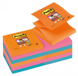 BLOCZEK SAMOP. POST-IT® SUPER STICKY Z-NOTES (R330-12SS-EG), 76X76MM, 12X90 KART., PROMIENNE KOLORY