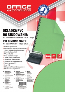 FOLIA DO BINDOWANIA OFFICE PRODUCTS, PVC, A4, 200MIKR., 100SZT., ZIELONA TRANSPARENTNA, 20222015-02