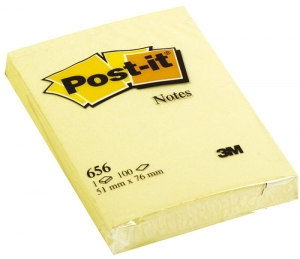 BLOCZEK SAMOP. POST-IT® (656), 51X76MM, 1X100 KART., ŻÓŁTY