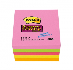 BLOCZEK SAMOP. POST-IT® SUPER STICKY (654S-N), 76X76MM, 5X90 KARTEK, NEONOWE