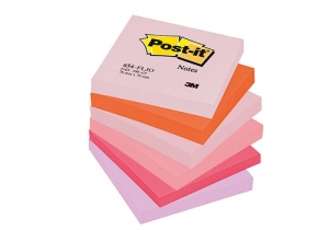 BLOCZEK SAMOP. POST-IT® (654-FLJO), 76X76MM, 6X100 KART., PALETA RADOSNA