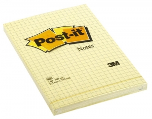 BLOCZEK SAMOP. POST-IT® W KRATKĘ (662), 102X152MM, 1X100 KART., ŻÓŁTY