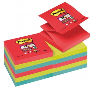 BLOCZEK SAMOP. POST-IT® SUPER STICKY Z-NOTES (R330-12SS-JP), 76X76MM, 12X90 KART., ENERGICZNE KOLORY
