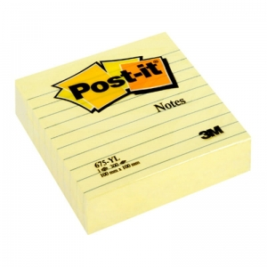 BLOCZEK SAMOP. POST-IT® W LINIE (675-YL), 100X100MM, 300 KART., ŻÓŁTY