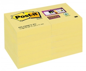 BLOCZEK SAMOP. POST-IT® SUPER STICKY (622-12SSCY-EU), 51X51 MM, 12X90 KART., ŻÓŁTY