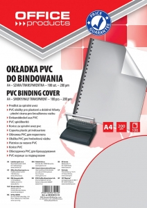 FOLIA DO BINDOWANIA OFFICE PRODUCTS, PVC, A4, 200MIKR., 100SZT., SZARA TRANSPARENTNA, 20222015-10