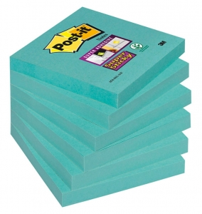 BLOCZEK SAMOP. POST-IT® SUPER STICKY (654-6SS-AW), 76X76MM, 6X90 KARTEK, MORSKA FALA