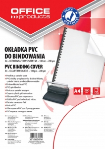 FOLIA DO BINDOWANIA OFFICE PRODUCTS, PVC, A4, 200MIKR., 100SZT., TRANSPARENTNA, 20222015-90