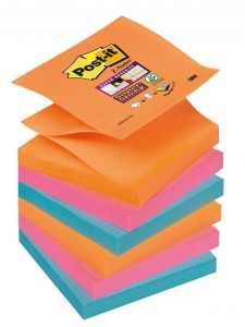 BLOCZEK SAMOP. POST-IT® SUPER STICKY Z-NOTES (R330-6SS-EG), 76X76MM, 6X90 KART., PROMIENNE KOLORY