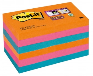 BLOCZEK SAMOP. POST-IT® SUPER STICKY (622-12SS-EG), 51X51MM, 12X90 KART., PROMIENNE KOLORY