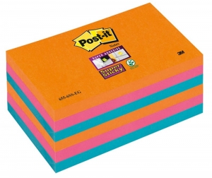 BLOCZEK SAMOP. POST-IT® SUPER STICKY (655-6SS-EG), 127X76XMM, 6X90 KART., PROMIENNE KOLORY