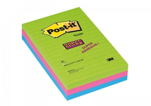 BLOCZEK SAMOP. POST-IT® SUPER STICKY W LINIE (660 - 3 SSUC), 102X152MM, 3X90 KART., NEONOWE