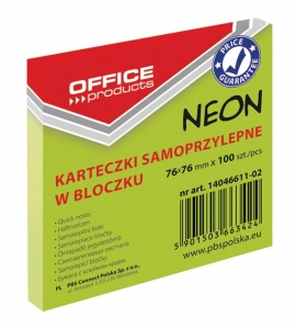 BLOCZEK SAMOP. OFFICE PRODUCTS, 76X76MM, 1X100 KART., NEON, ZIELONY, 14046611