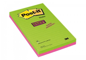 BLOCZEK SAMOP. POST-IT® SUPER STICKY W LINIE (5845- SSUC), 125X200MM, 4X45 KART., NEONOWE