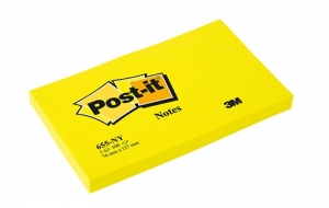 BLOCZEK SAMOP. POST-IT® (655N), 127X76MM, 100 KART., JASKRAWY ŻÓŁTY