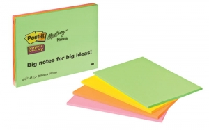 BLOCZEK SAMOP. POST-IT® SUPER STICKY (6845-SSP), 200X149MM, 4X45 KART., MIX KOLORÓW