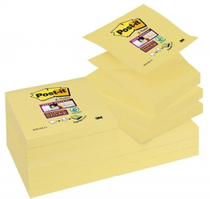 BLOCZEK SAMOP. POST-IT® SUPER STICKY Z-NOTES (R330-12SS-CY), 76X76MM, 12X90 KART., ŻÓŁTY