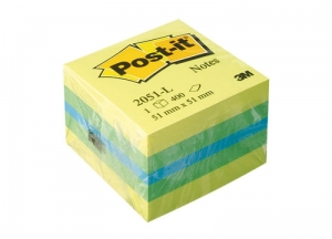 MINI KOSTKA SAMOP. POST-IT® (2051L), 51X51MM, 1X400 KART., CYTRYNOWA